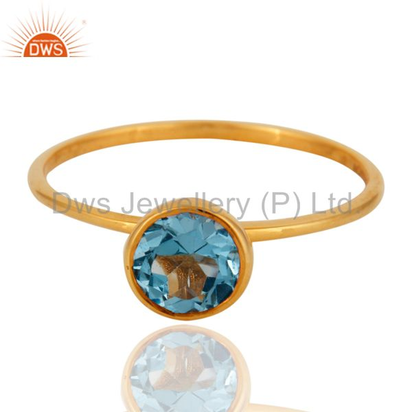 Exporter Handmade 9K Solid Yellow Gold Natural Blue Topaz Gemstone Engagement Ring Size 8