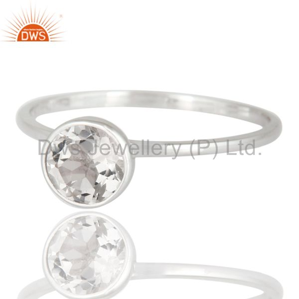 Exporter Handmade Natural Clear Quartz Crystal 9K Solid White Gold Engagement Ring Size 8