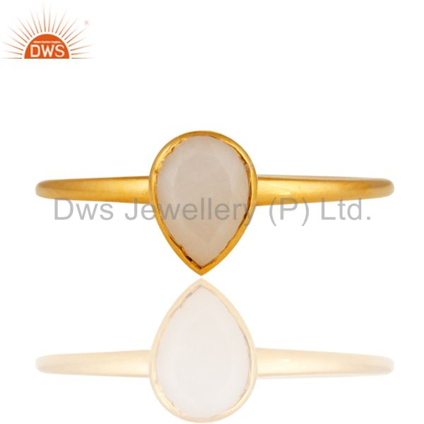 Exporter 9K Solid Yellow Gold Rainbow Moonstone Engagement Stacking Ring