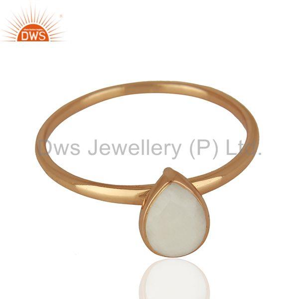 Exporter Rose Gold Plated Silver Agate Gemstone Girls Ring Manufacturer