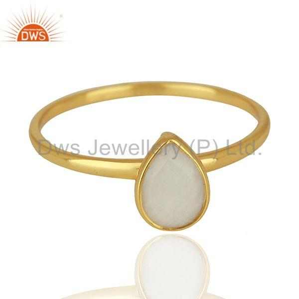 Exporter Yellow Gold Plated Silver Agate Gemstone Ring Jewelry Supplier