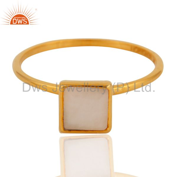 Exporter 9K Yellow Gold White Agate Square Shape Gemstone Bezel Set Stacking Ring