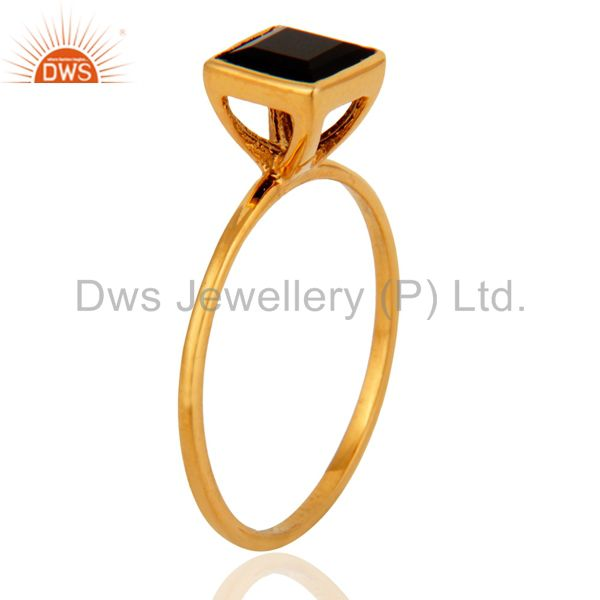 Exporter 9K Solid Yellow Gold Black Onyx Gemstone Womens Engagement Stacking Ring