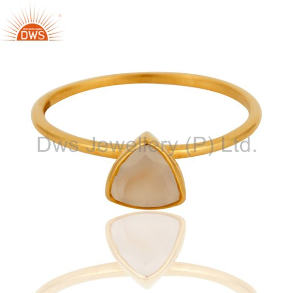 Exporter 9K Solid Gold Natural White Agate Handmade Engagement Stacking Ring Gift For Her
