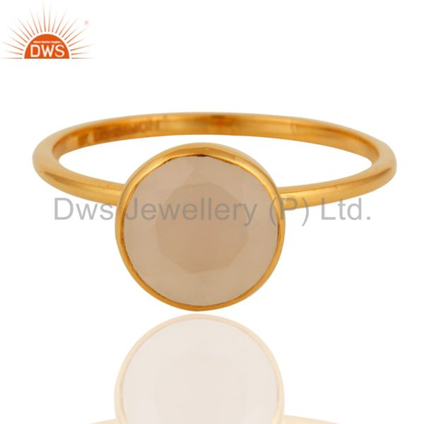 Exporter 9K Yellow Gold White Agate Round Shape Gemstone Stackable Ring