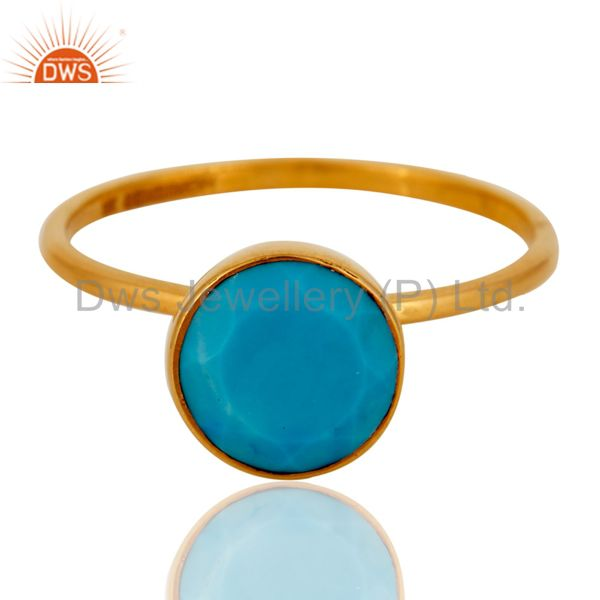 Exporter Beautiful 9ct Yellow Gold December Birthstone Turquoise Ring For Birthday Gift
