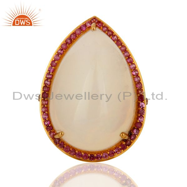 Exporter Handmade Natural Fire Opal Gemstone 9K Yellow Gold Ring With Pink Sapphire