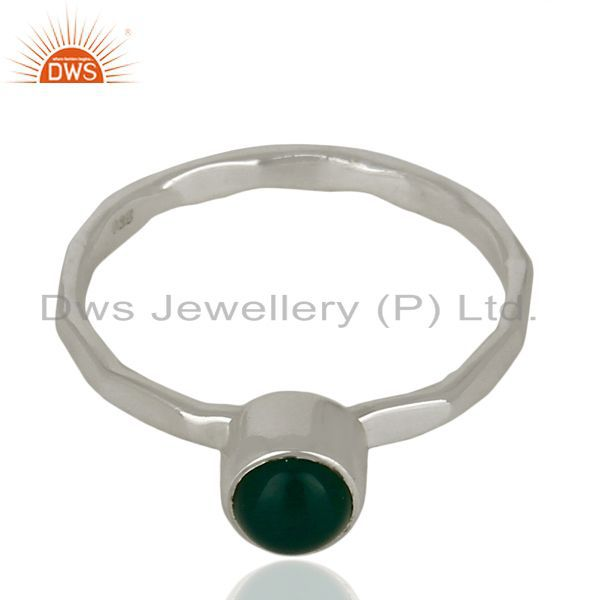 Exporter Natural Green Onyx Gemstone 925 Sterling Fine Silver Ring Jewelry
