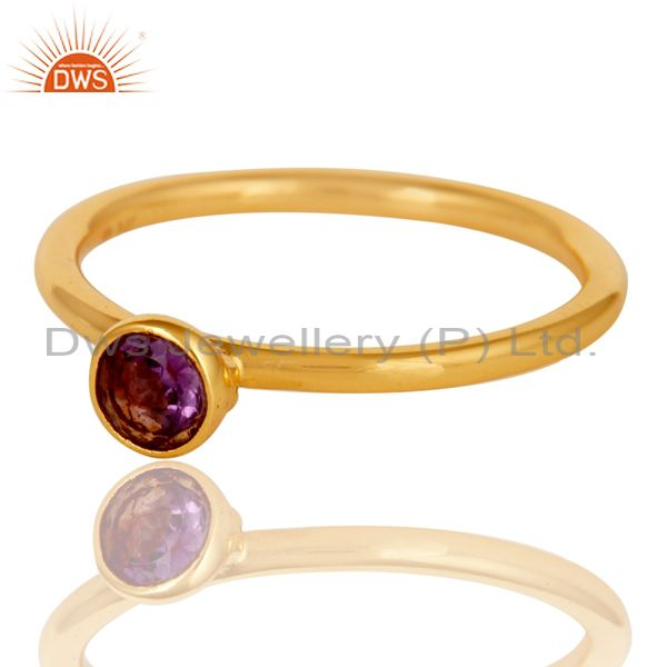 Exporter 18K Yellow Gold Plated Sterling Silver Amethyst Engagement Stackable Ring