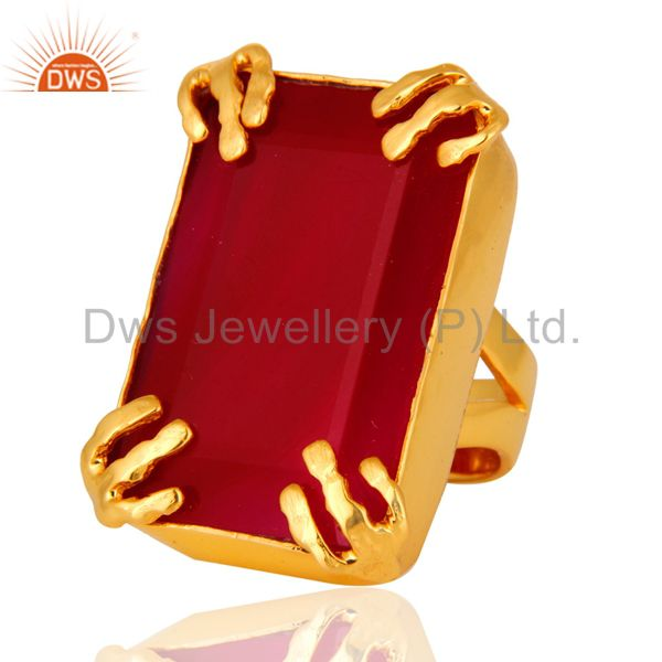 Exporter 18K Yellow Gold Plated Dyed Pink Chalcedony Gemstone Ring