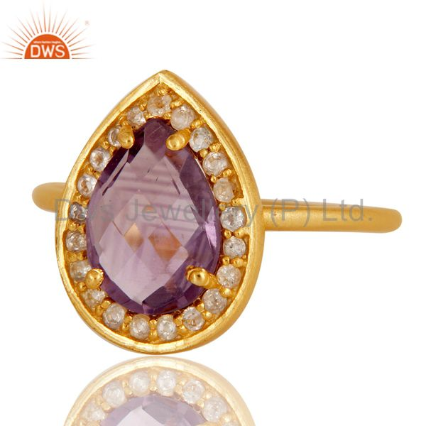Exporter 18k Yellow Gold Plated Sterling Silver Amethyst & White Topaz Stacking Ring