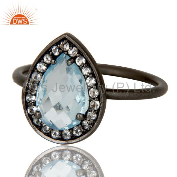 Exporter Oxidized Sterling Silver Blue Topaz And White Topaz Stacking Ring