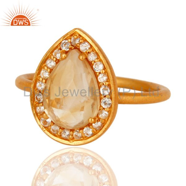 Exporter 18K Gold Plated Sterling Silver Natural Citrine And White Topaz Stacking Ring