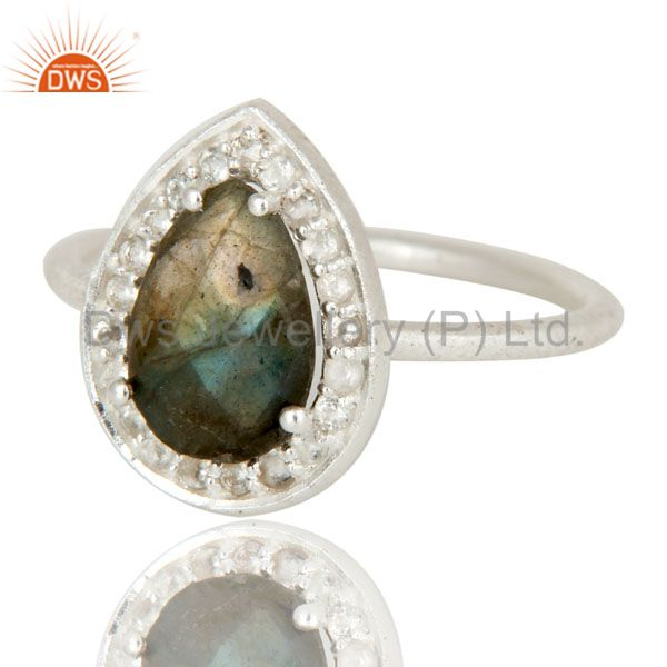 Exporter 925 Sterling Silver Blue Fire Labradorite And White Topaz Stackable Ring