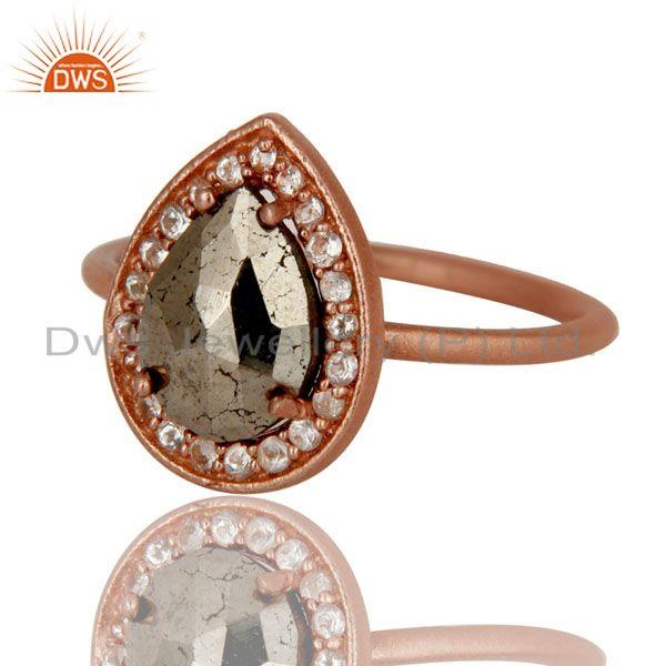 Exporter 18K Rose Gold Plated Sterling Silver Pyrite And White Topaz Stackable Ring