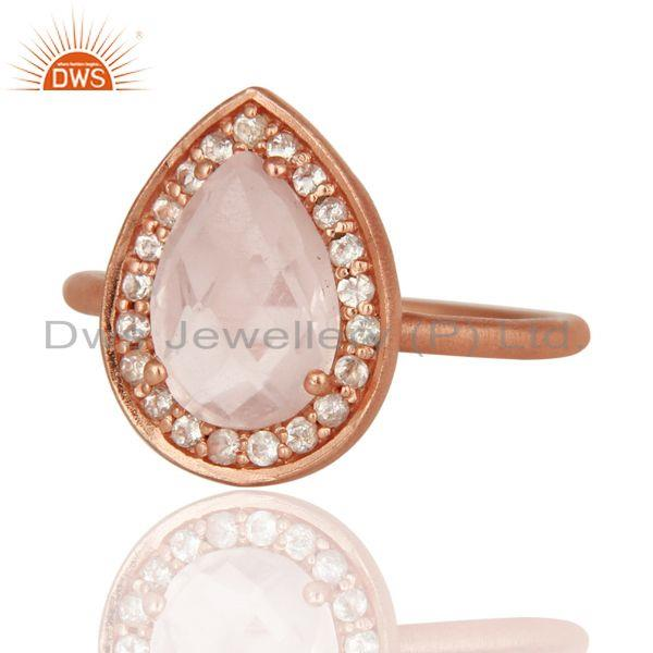 Exporter 18K Rose Gold Plated Sterling Silver Rose Quartz And White Topaz Stack Ring
