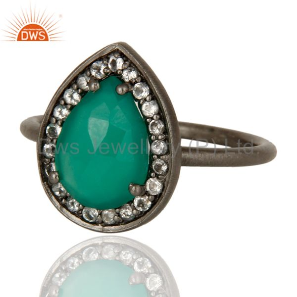 Exporter Oxidized Sterling Silver Green Onyx And White Topaz Stacking Ring