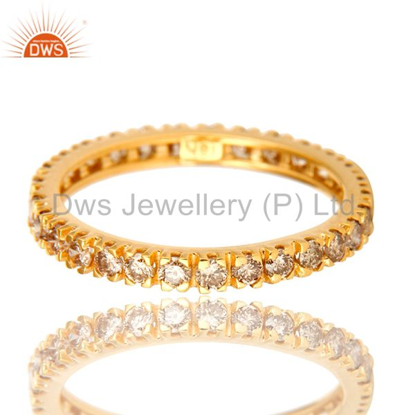 Exporter Natural Pave Set Diamond Eternity Band set in Solid 18K Yellow Gold