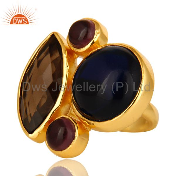 Exporter 18K Gold Plated Blue Corundum, Hydro Amethyst And Smoky Quartz Cocktail Ring