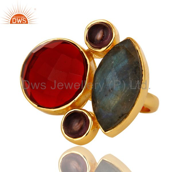 Exporter 18K Yellow Gold Plated Brass Hydro Amethyst And Labradorite Statement Ring