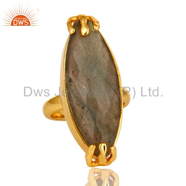 Exporter 14K Yellow Gold Plated Brass Faceted Labradorite Gemstone Statement Ring
