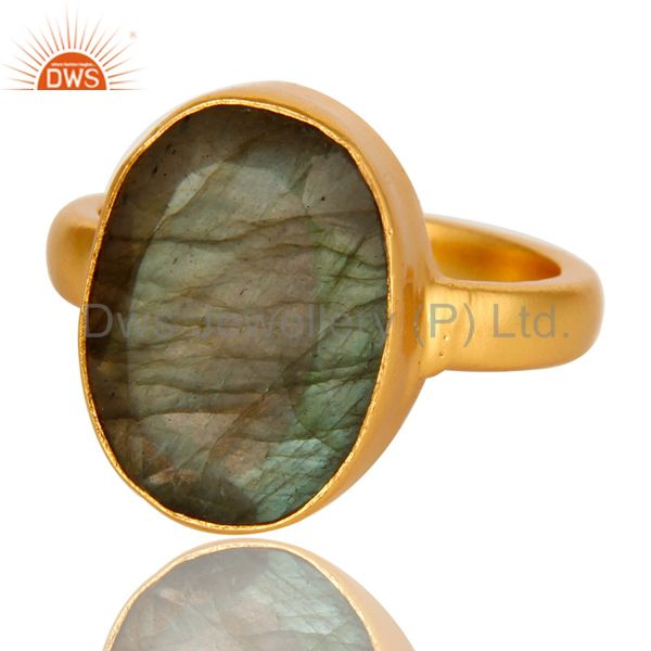 Exporter Natural Labradorite Gemstone Statement Ring In 14K Yellow Gold On Brass