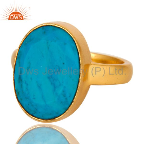 Exporter 14K Yellow Gold Plated Brass Turquoise Gemstone Bezel Set Statement Ring