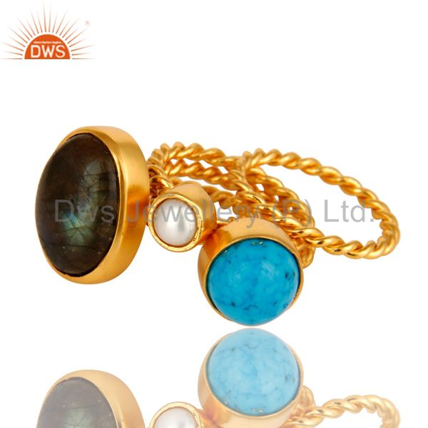 Exporter Turquoise, Labradorite And White Pearl 14K Yellow Gold Plated Ring