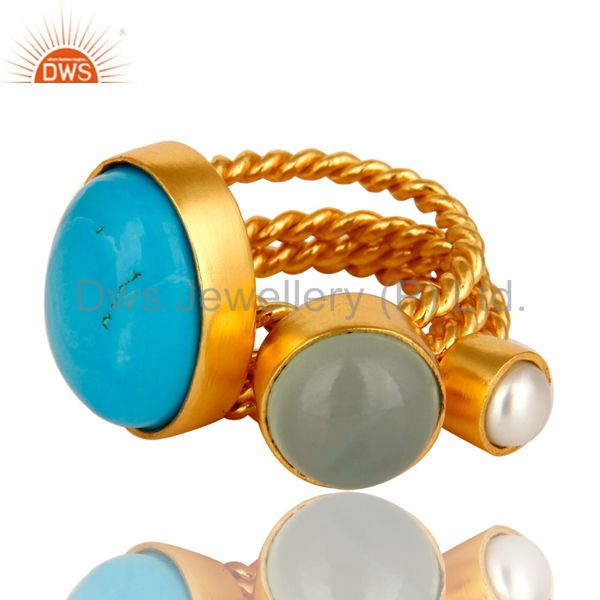 Exporter Turquoise, Blue Chalcedony And White Pearl Gold Plated Twisted Ring 3 Pcs Set