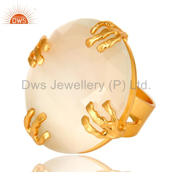 Exporter 24K Yellow Gold Plated Brass Prong Set White Moonstone Cocktail Ring