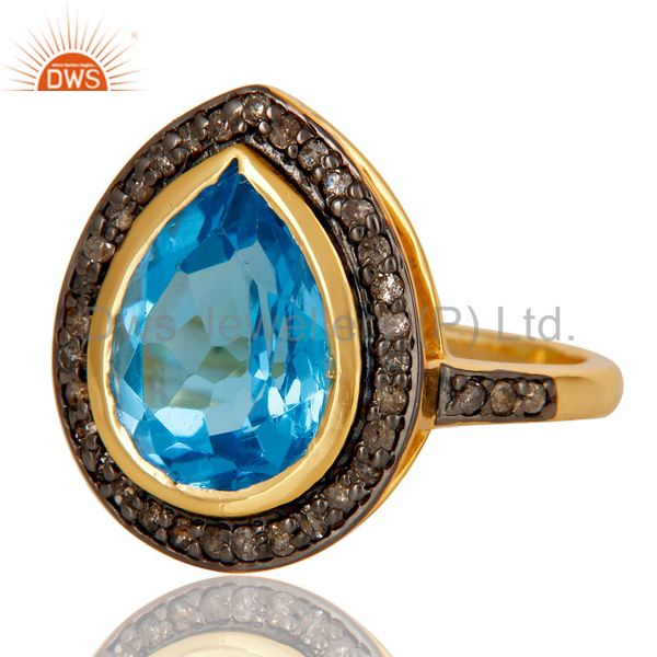 Exporter 18k Gold Plated Sterling Silver Design Ring with Blue Topaz & Diamond