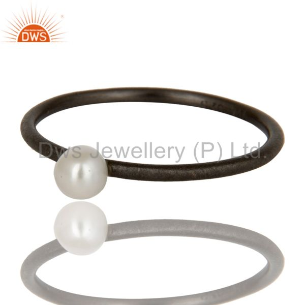 Exporter Oxidized 925 Solid Sterling Silver Natural White Pearl Stackable Ring