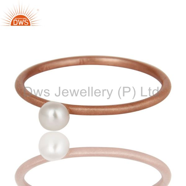 Exporter 18K Rose Gold Plated Sterling Silver Natural White Pearl Stackable Ring