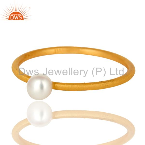 Exporter 18K Yellow Gold Plated Sterling Silver Natural White Pearl Stackable Ring