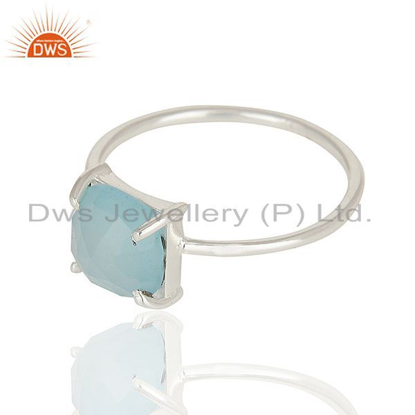 Exporter Aqua Chalcedony Stackable 925 Sterling Silver Ring Jewelry