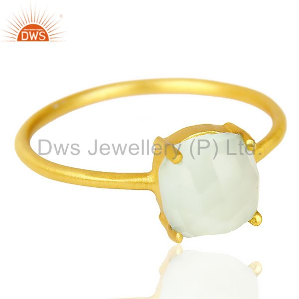 Exporter Aqua chalcedony Cushion Cut 14K Gold Plated Ring-March Brithstone