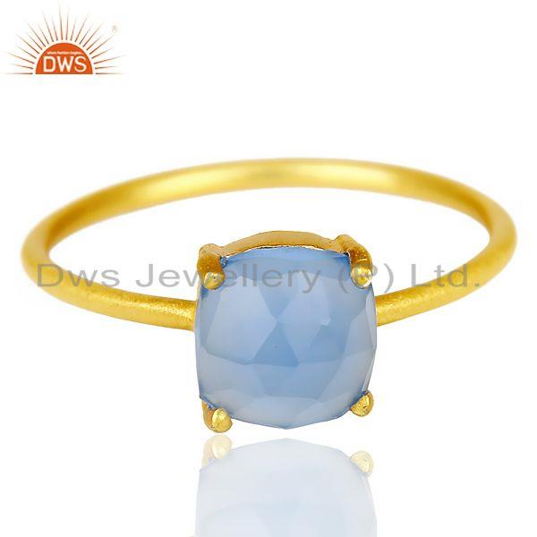 Exporter Blue Chalcedony Cushion Cut 14K Gold Plated Ring-December Brithstone