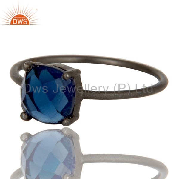 Exporter Oxidized Sterling Silver Blue Corundum Prong Set Gemstone Stacking Ring