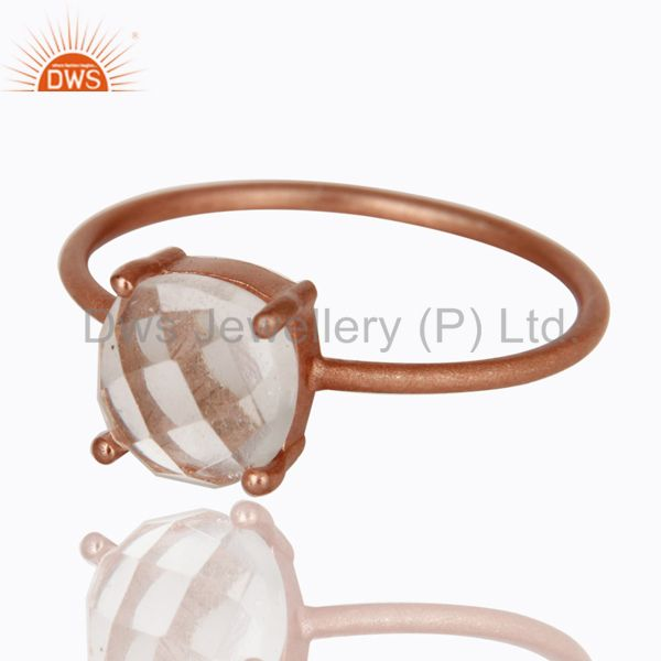 Exporter 18K Rose Gold Plated Sterling Silver Crystal Quartz Prong Set Stacking Ring