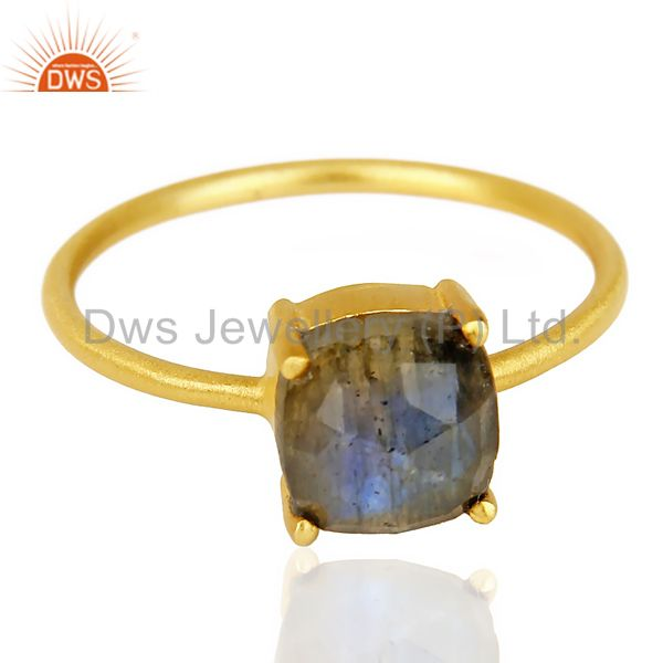 Exporter Natural Labrodorite Cushion Cut 14K Gold Plated Ring In Solid Sterling Silver