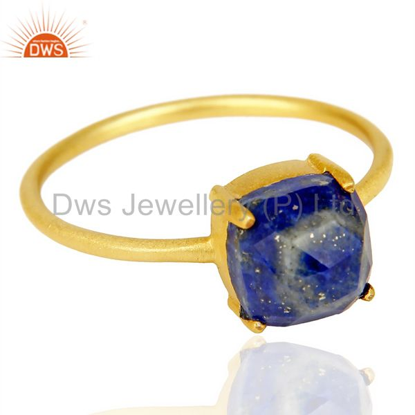 Exporter Lapis Cushion Cut 14K Gold Plated Ring-December Brithstone