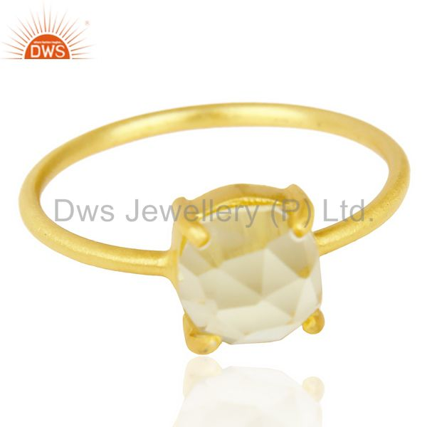 Exporter Lemon Topaz Cushion Cut 14K Gold Plated Sleek Ring In Solid Sterling Silver