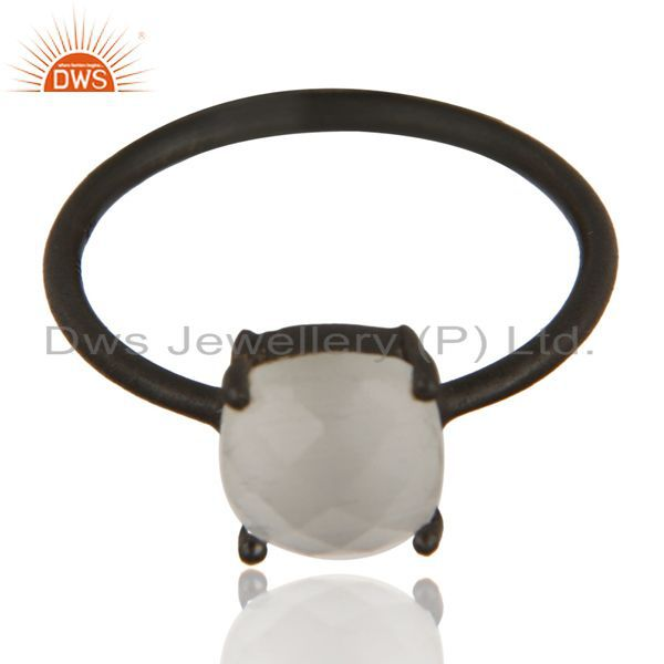 Exporter Black Oxidized 925 Sterling Silver White Moonstone Prong Set Stacking Ring