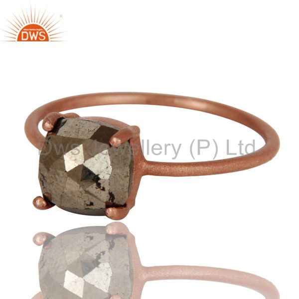 Exporter 18K Rose Gold Plated Sterling Silver Golden Pyrite Prong Set Stackable Ring
