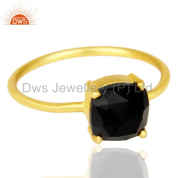 Exporter Rose Cut Black Onyx Stackable 14K Yellow Gold Plated 925 Sterling Silver Ring