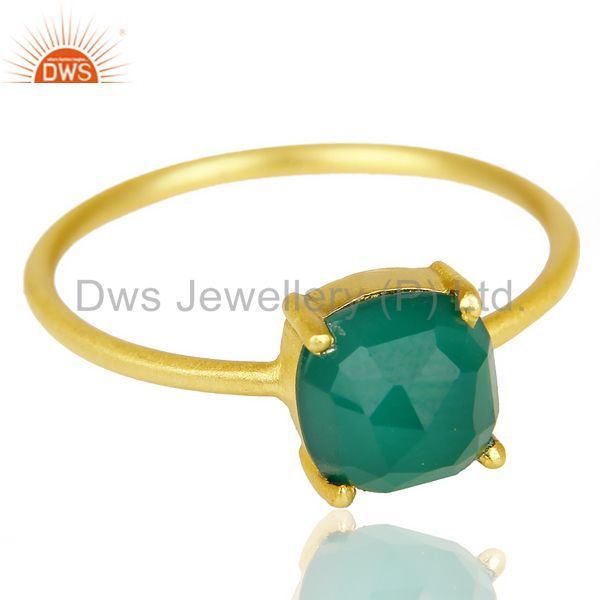 Exporter Green Onyx Cushion Cut 14K Gold Plated Sleek Ring In Solid Sterling Silver
