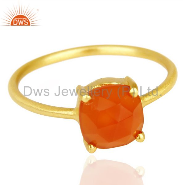 Exporter Red Onyx Cushion Cut 14K Gold Plated Sleek Ring In Solid Sterling Silver
