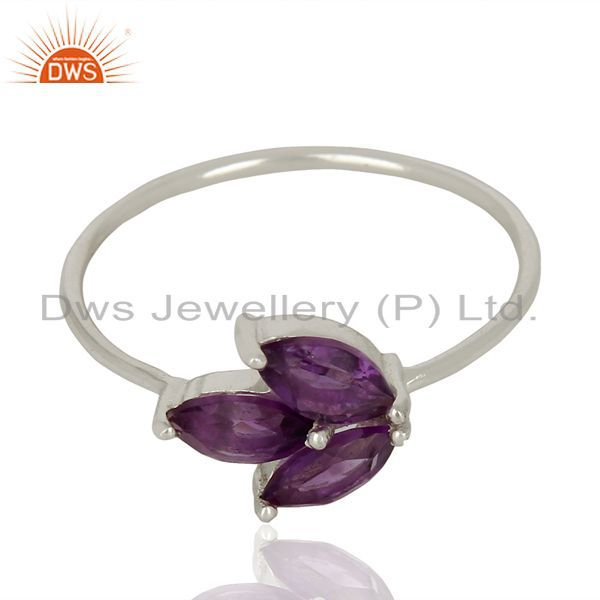 Exporter Amethyst Prong Set 925 Sterling Silver Ring Gemstone Jewelry