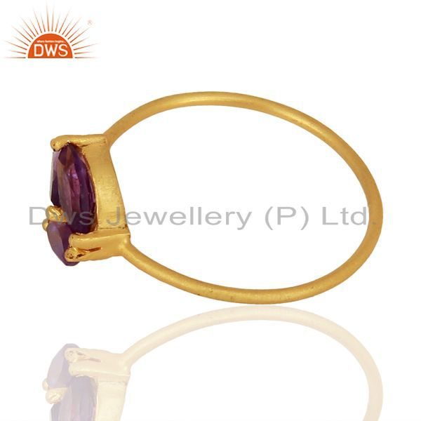 Exporter Amethyst Prong Set 14K Gold Plated 925 Sterling Silver Ring Gemstone Jewelry