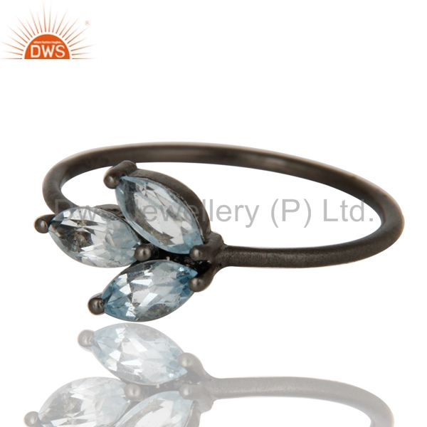 Exporter Oxidized Sterling Silver Blue Topaz Gemstone Prong Set Stacking Ring